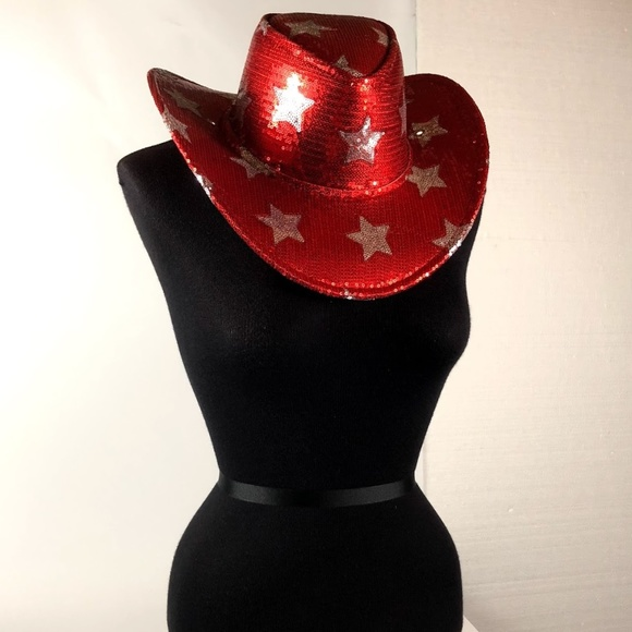 cbd3115fa82 Adult Red Sequin Halloween Cowboy Hat NEW with Tag
